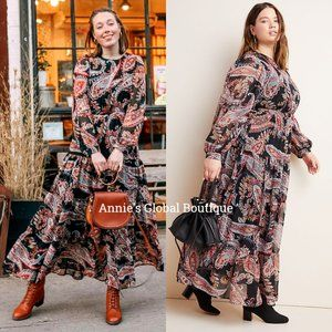 RARE NWT ANTHROPOLOGIE Paisley Tiered Maxi Dress